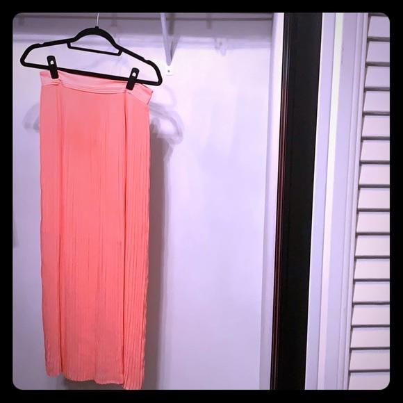 White House Black Market Dresses & Skirts - WHBM Floor length pleated coral skirt